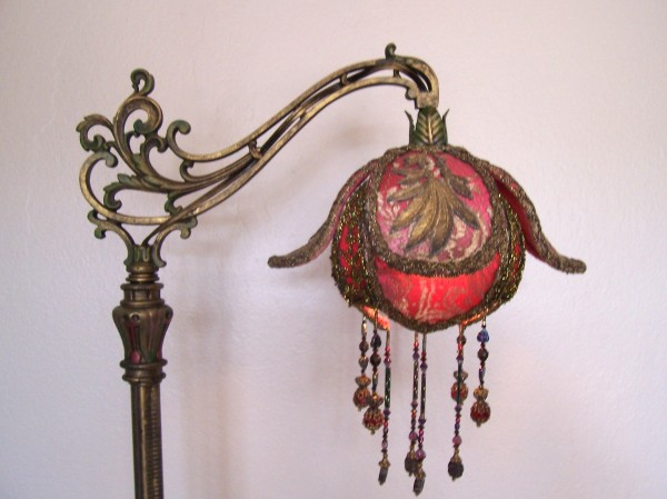 Victorian lampshades on period table lamps custom exotic bloom shaped shade is ombre dyed red into a hint of lavender covered in antique gold metallic lace with 4 antique gold metallic leafy aloadofball Images
